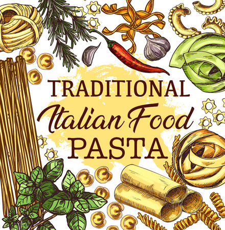 Pasta from Italy with seasonings poster for Italian cuisine. Spaghetti and fusilli, tortellini and stelle, fettuccine and rigatoni. Alluovo and creste di gallo, linguine and herbs or spice vector