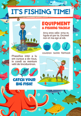 Fisherman and equipment or tackle on fishing tournament invitation. Sea fishing poster with fisher holding net or rod. Cauldron and hook, shrimp and salmon, squid and octopus, carp and perch vector Stock Illustratie