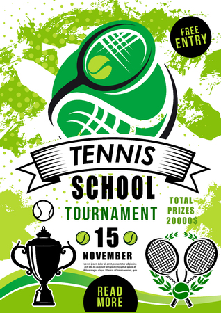 Tennis school tournament poster with ball and rocket. Invitation on college championship badminton game. Sporting competition match on professional tennis, trophy award cup vector sporting equipment Фото со стока - 112961393