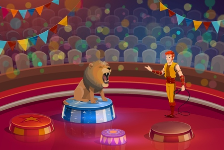 Circus show and trained lion animal on stage. Handler and wild beast and man in stage costume, dangerous trick with animal or predator sitting with open mouth, entertainment performance vector isolated