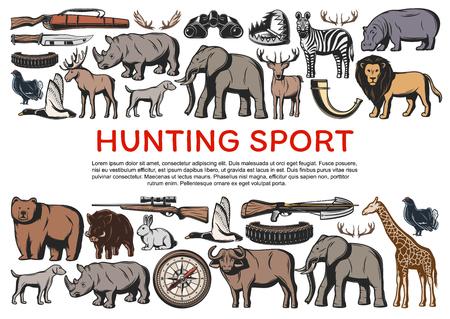 A caccia di animali e pistole per poster di caccia. Coltello e arma, animali selvatici rinoceronte ed elefante, cervo e leone, zebra e orso, giraffa, renna e coniglio. Savana sport hobby, uccelli vettore