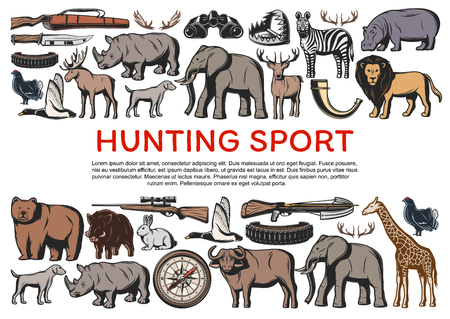 Hunting on animals and guns for hunt poster. Knife and weapon, wildlife animals rhinoceros and elephant, deer and lion, zebra and bear, giraffe, reindeer and rabbit. Savanna sport hobby, birds vector