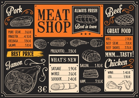 Butchery products chalk sketch. Vector menu with bacon or pork steak, ham and salami, kielbasa and sausage, chicken or wurst. Meat shop or farm market, beef and prosciutto, rib and wings or leg