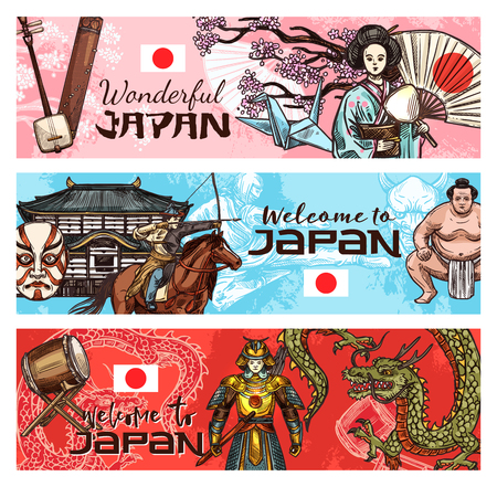 Japan tradition banners with japanese symbols. Religion, sport wrestler sumo in kimono, samurai and Japanese drum taiko music instrument, origami, judo or karate. Geisha in sakura branches and dragon