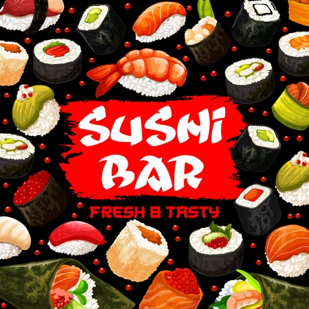 Japanese seafood poster for sushi bar with food of Japan. Rolls with seaweed and salmon, caviar and shrimp, avocado and tuna, perch and trout. Raw fish wrapped in nori leaves with wasabi sauce vector