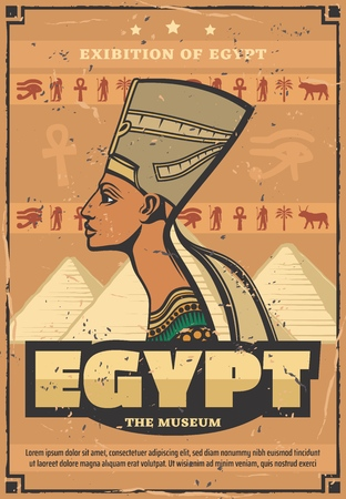 Egyptian travel retro poster queen Nefertiti, Egypt museum of relics. Great pyramids from African desert with pharaoh tombs inside. Ancient goddess and woman from royalty in authentic crown vector