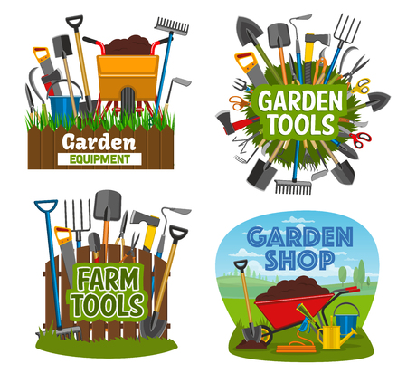 Gardening tools and equipment isolated posters. Garden shop items shovel, spade, rake and pruner, trowel and fork, scissors, pitchfork. Wheelbarrow, cart with soil, agricultural farming tools vector Illustration