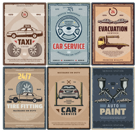 Car service retro posters for repair and taxi, evacuation and tire fitting, auto paint. Transportation and vehicle maintenance, broken parts replacement. Corpus painting at mechanic workshop vector