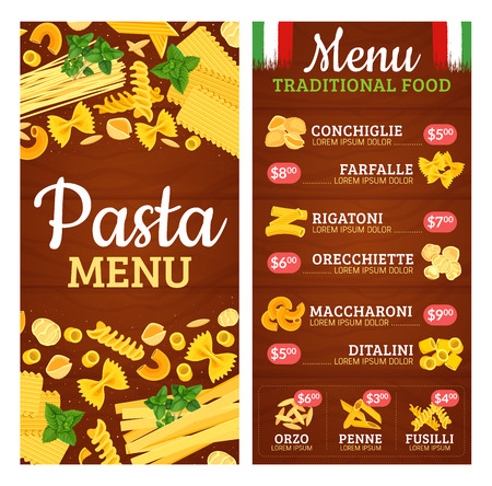Italian pasta menu with cuisine of Italy and prices. Conchiglie and farfalle, rigatoni and orecchiette, maccharoni and ditalini, orzo and penne, fusilli. Traditional food restaurant or cafe vector