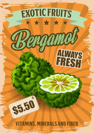 Bergamot fruit with price tag poster for grocery store. Natural exotic product full of vitamins, minerals and fiber. Tropical healthy food for vegans and vegetarians from market or shop vector Illustration