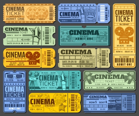 Tickets for cinema and movie show or seance. Paper admission with barcode to watch film at motion picture festival. Camera and popcorn, spotlight and 3d glasses, reel and clapperboard vector