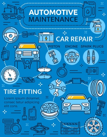 Repair car service poster with vehicle and auto parts, piston and engine with spark plugs. Automotive maintenance garage station and tire fitting. Wheel and keys, speedometer and wrench, fuel vector 일러스트