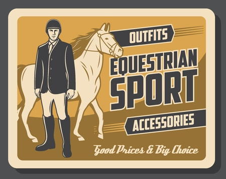 Equestrian sport horse and jockey rider. Thoroughbred stallion or mare with tack, saddle and bridle, horseman with horserace equipments and accessory. Equine competition and derby show vector design Banque d'images - 112948137