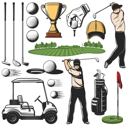 Items for golf sport icons and player with stick, play course and cart. Ball and putter, wedge and iron, wood and hybrid, hole and flag, Gold trophy cup and hand in glove, tee and bag with cap vector