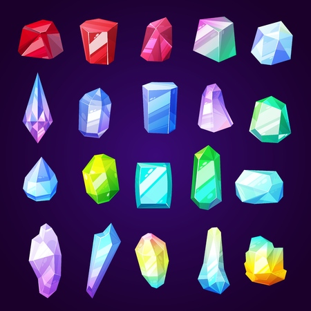 Stones gems and minerals icons for jewelry industry. Rocks and crystals from geological deposits. Diamond and uncut brilliant, amethyst and quartz, garnet and emerald, sapphire and ruby vector Stock Vector - 127240927
