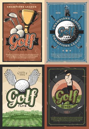 Klub golfowy turniej tragarzy retro. Sprzęt golfowy i piłki, puchar o złotym trofeum i mistrzowski gracz. Szkoła golfa dla juniorów, pole z zieloną trawą, wektor hobby sportu