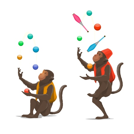 Trained circus monkey juggling balls or clubs vector isolated. Ape juggler gives performance in circus. Entertainment show at carnival with cute animal in costume concentrated on juggle maces