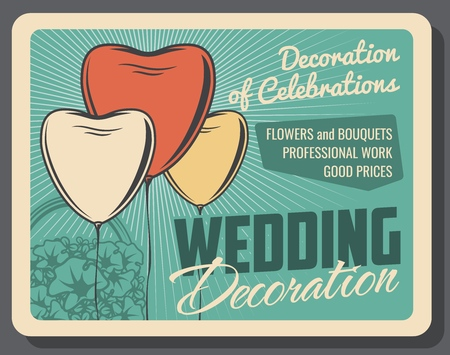 Wedding decoration, banquet arrangement or organization service, heart-shaped balloons. Vector petunia bouquet in basket, marriage celebration. Bridal ceremony, decor and adornment, holiday setting
