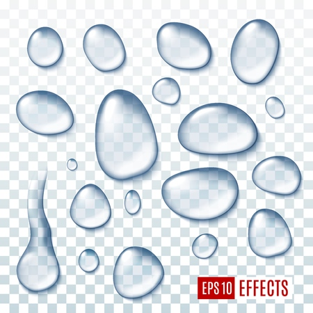 Water realistic drops isolated on transparent background. Rain droplets or raindrops in realistic design. Fresh aqua dews, clear liquid bubbles vector pure clean splashes. Natural spring drops