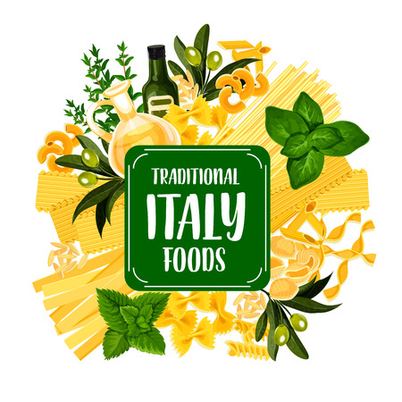 Italian pasta icon for Italy cuisine foods. Spaghetti and macaroni or vermicelli as pastry products. Farfalle and gnocchi, penne and chifferi, fettuccine and lasagna, alluovo and orzo vector 일러스트