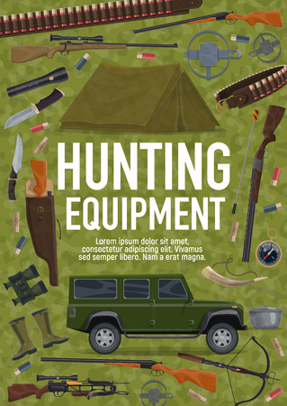 Equipment for hunting sport poster with weapon, camping tent and SUV car. License to hunt, gun or rifle and trap, bullets and knife. Flashlight and binocular, compass and kettle, horn and boots vector Illustration