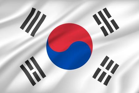 Fond de drapeau de la Corée du Sud avec la texture du tissu. Symbole national du pays du textile ou du tissu, tissu de soie de vent avec cercle et rayures. Héraldique nationale politique pour le vecteur de bannière d'état asiatique Vecteurs