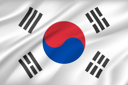 Fondo de bandera de Corea del sur con textura de tela. Símbolo nacional del país de textil o tela, tela de seda de viento con círculo y rayas. Heráldica nacional política para el vector de la bandera del estado asiático Ilustración de vector