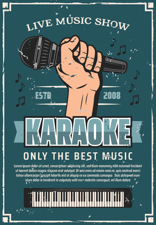 Karaoke party invitation retro poster with microphone in hand and piano. Live classical music concert paper banner, carnival show or festival event vector. Synthesizer instrument on grange billboard