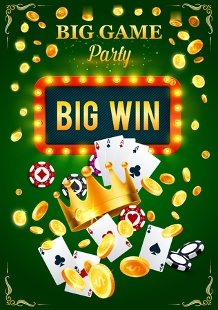 Gambling game party invitation poster for casino. Play cards and poker chips, gold crown and coins, big win signboard with lamps. Event for gamblers with money stakes and easy earning vector