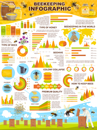 Apiary farm infographic for beekeeping statistics. Vector design of diagrams and icons for bees types and honeycomb. Bee Hives and honey containers barrel and jars, world map and analytical data