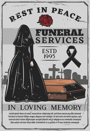 Funeral service, interment ceremony, window in black gown with dark veil, wooden coffin and cemetery. Vector red roses, female silhouette and mourning tape. Graveyard, gravestones and crosses, memory Illustration