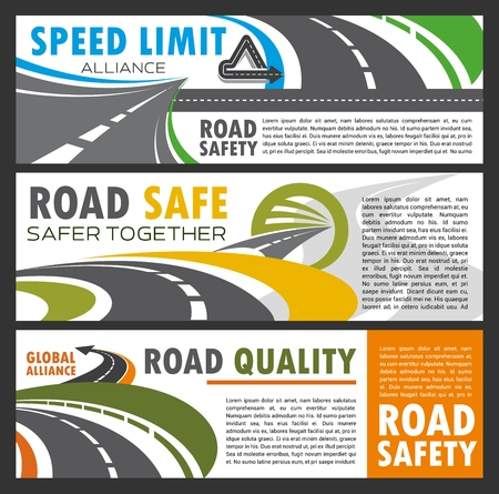 Roads and highways navigation, repair and building, driving safety. Vector roadway of asphalt, transport and direction, drivers instruction, precaution. Travel by car carefully, speed limit and rules Ilustrace