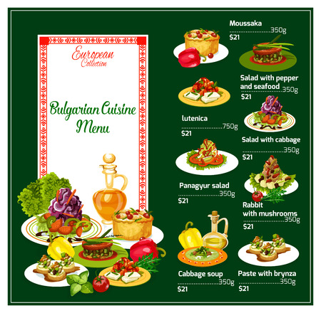 Menu of Bulgarian national cuisine. Moussaka and salad with pepper and seafood, letunica and panagyur, rabbit with mushrooms and cabbage soup, paste with brynza. Healthy fresh food dishes vector