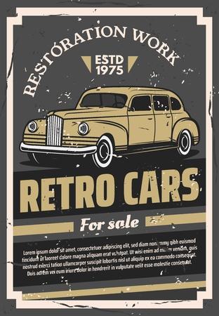 Auto retrò dei vecchi tempi in vendita o poster di lavori di restauro. Veicolo d'epoca raro per esposizione e vendita. Servizio di ripristino e commercio di trasporto, sostituzione di parti e vettore di verniciatura del corpus