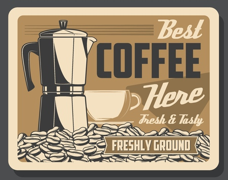Cafe or cafeteria retro poster with coffee machine and beans with cup. Hot beverage of organic ingredients restaurant or bar vintage banner. Energetic drink of high quality and fragrant seeds vector