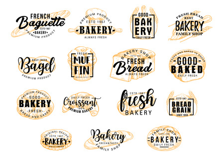 Bread and bakery products for dessert icons with lettering. Bagel and muffin, croissant and baguette silhouettes with signs for pastry food shop. Food of dough and flour badges vector isolated