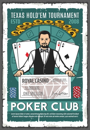 Casino retro poster with croupier holding million dollar check. Gambling place, play cards or aces and gold coins, chips for stakes and money prize. Tournament or championship in gamble game vector Illustration