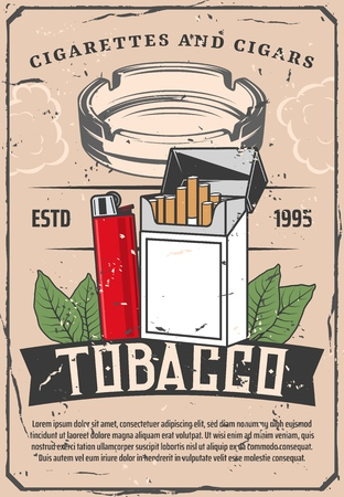 Tobacco products selling poster with cigarettes or cigars and lighter, ashtray and leaves. Smoking industry production leaflet or brochure. Harmful habit and health thread vintage banner vector Stock Vector - 127240939