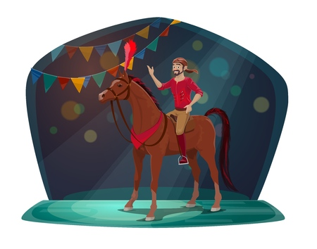 Chapiteau circus, horse and equestrian or acrobat, stage with spotlight. Vector animal with feather and neckerchief, artist in costume and bandana. Man and trained mustang, arena performance Illustration