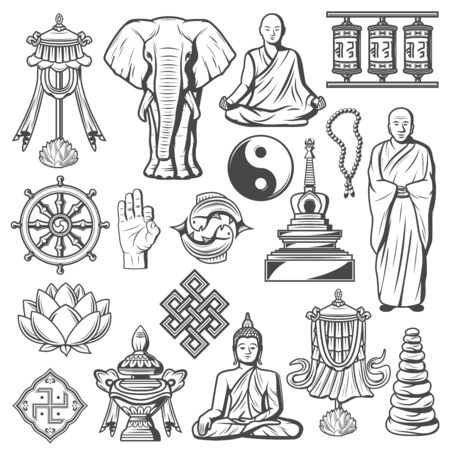 Buddhism religion icons and signs isolated. Lotus and rosary, elephant, fingers showing ok, Buddha in meditation pose. Illusztráció