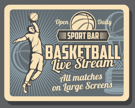 Basketball sport bar retro poster with player throwing ball. Sport tournament of playoff game on large screens, basketball league competition or championship . Trophy silhouette on vintage banner