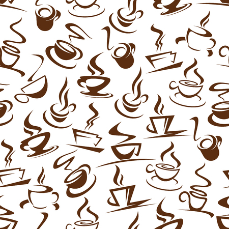 Hot coffee seamless pattern of steaming energetic beverages. Cups on saucer with steam silhouettes in endless texture. Latte and americano, espresso and mocha, cappuccino and glasse in dishware vector Vectores