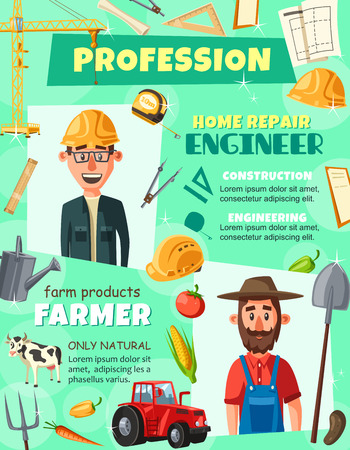 Professions engineer and farmer agronomist poster. Construction engineering and agrarian industry workers searching jobs. Tractor and spade, project and crane, vegetables and stationery tools vector