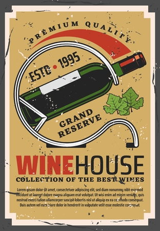 Wine bottle retro poster for winehouse. Winery and cellar with collectible sorts of alcohol drink of premium quality. Grape leaves and exquisite beverage in glass container vintage leaflet vector