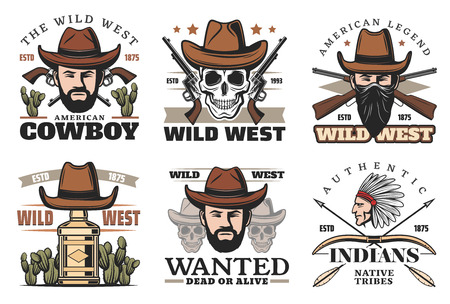Wild West or Western icons with cowboy in hat and gun. Revolver or pistol and skull, man in bandana and whiskey bottle. Cactus and nativa American or Indian with bow and arrows vector isolated