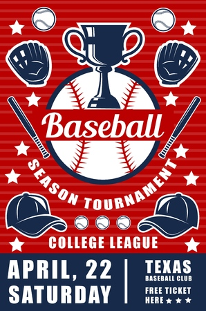 Sport of baseball game announcement poster with ball and bat or trophy cup and glove with cap. Sporting tournament for professional players brochure. College league championship leaflet vector 向量圖像