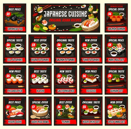 Japanese cuisine menu template vector. Tea, eel, ikura futomaki. Sushi with salmon, tuna, maki rolls set. Filadelfia and alaska, california red, oszusci, guhkah. Nigiri and unagi, temaki and rice bowl