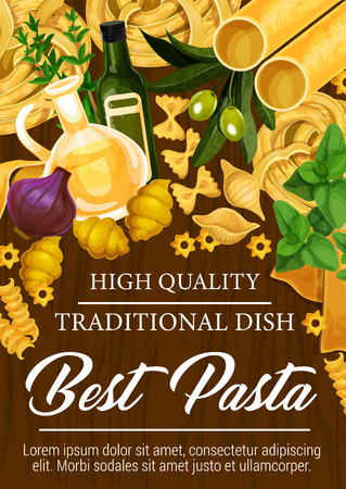 Italian cuisine pasta poster with seasoning and olive oil. Spaghetti and conchiglie, farfalle and tagliatelle, cannelloni and fusilli with stelle. Basil and purple onion, olive oil and rosemary vector