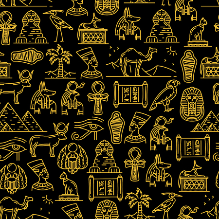 Egypt culture seamless pattern of ancient Egyptian Gods. Travel landmarks and sights outline endless texture. Nefertiti and Ra, Anubis and pyramids, mummy and sphinx, pharaoh and holy animals vector