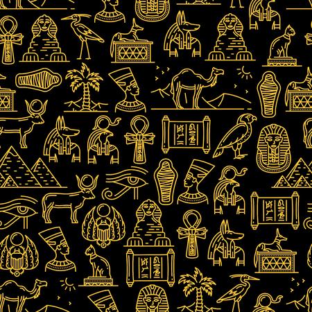 Patrón sin fisuras de la cultura de Egipto de los antiguos dioses egipcios. Los monumentos y lugares de interés de viaje describen una textura sin fin. Nefertiti y Ra, Anubis y pirámides, momia y esfinge, faraón y animales sagrados. Ilustración de vector